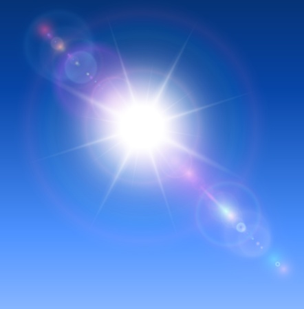 Sun with lens flare background.