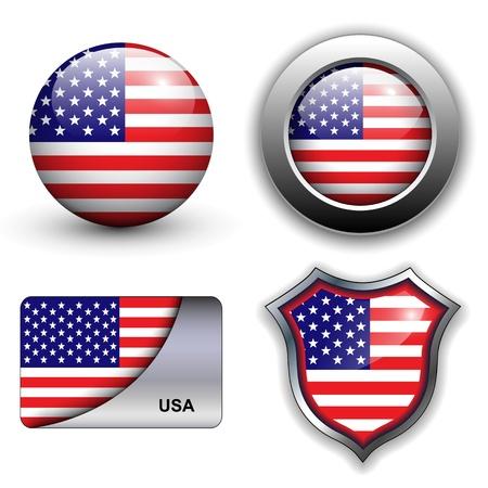 USA, american flag icons theme.