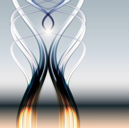 Abstract transparent lines background, mirrored in glass