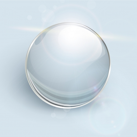 Transparent glass ball on background with lens flares