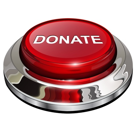 Donate button, 3d red glossy metallic icon