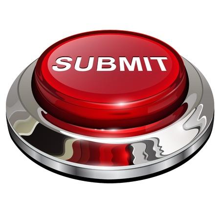 Illustration pour Submit button, 3d red glossy metallic icon - image libre de droit