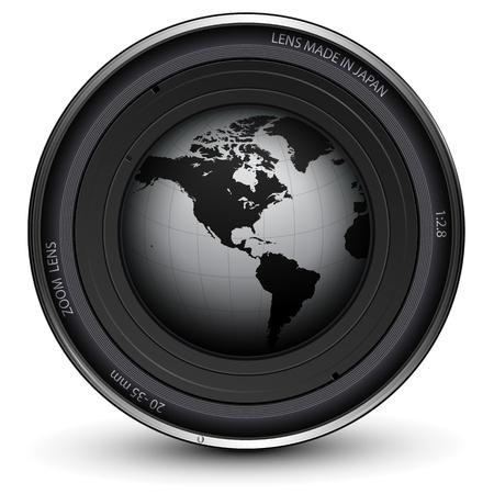 Camera photo lens with earth globe inside