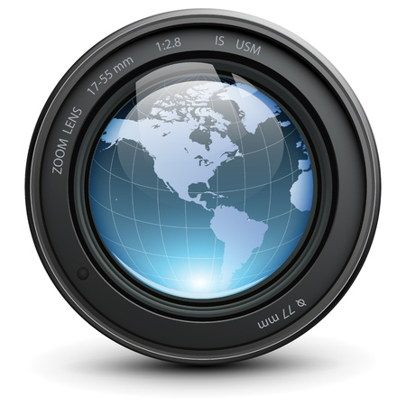 Camera photo lens with earth globe inside
