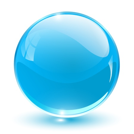 3D crystal sphere blue,  illustration.