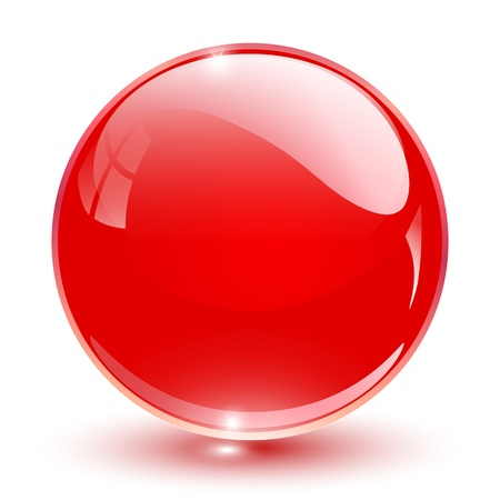 3D crystal sphere red,  illustration.
