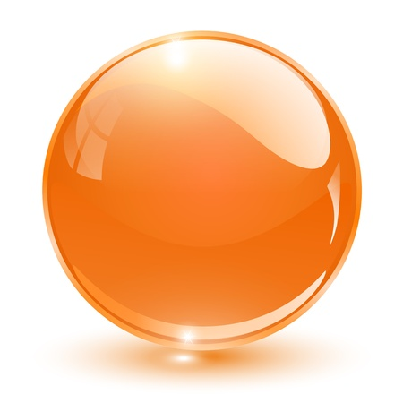 3D crystal sphere orange, illustration.