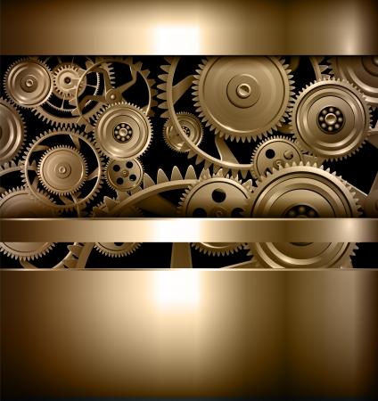 Technology background metallic gears and cogwheels.