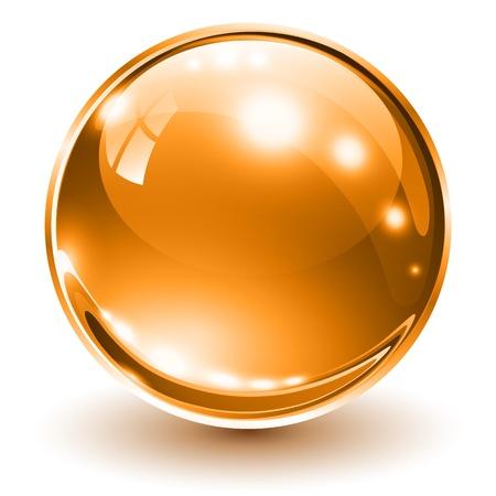 3D glass sphere orange, illustration.