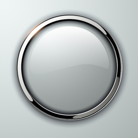 Glossy button, transparent with metallic elements, vector illustration.