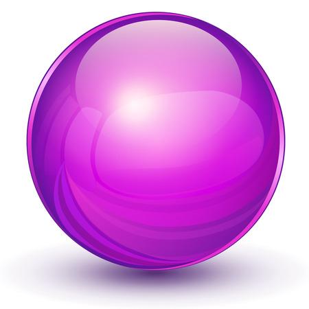3D sphere, violet ball.