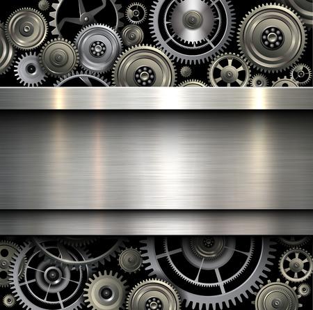 Foto de Background metallic with technology gears, vector illustration. - Imagen libre de derechos