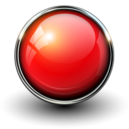 Red shiny button with metallic elements, vector design for website.