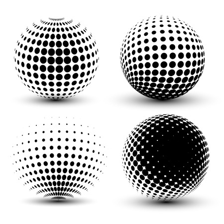 3D vector halftone spheres. Set of halftone vector backgrounds. Halftone design elementsのイラスト素材