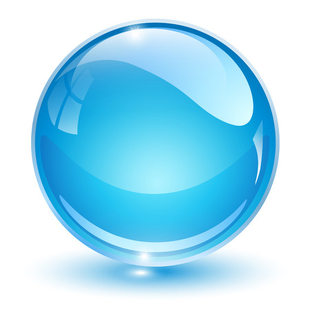 Ilustración de Glass sphere, blue 3D vector ball. - Imagen libre de derechos