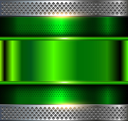Ilustración de Metallic background, green metal perforated texture, vector polished metal - Imagen libre de derechos