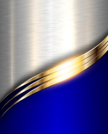 Ilustración de Metal background, elegant blue metallic with gold wave. - Imagen libre de derechos