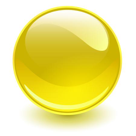 Illustration pour Glass sphere yellow, vector shiny ball. - image libre de droit