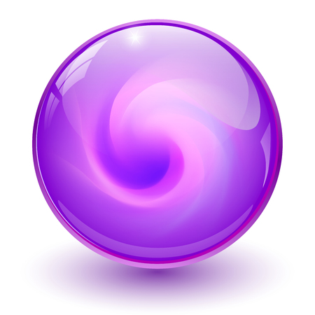 Illustration pour Purple glass sphere, 3D marble ball, vector illustration. - image libre de droit