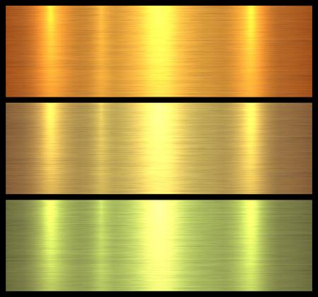Illustration pour Metal textures gold brushed metallic background, vector illustration. - image libre de droit