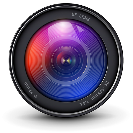 Illustration for Camera photo lens 3D realistic icon, vector illustration. - Royalty Free Image