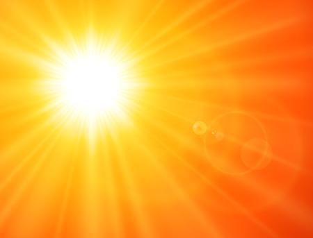 Illustration for Orange sunny background, sun with lens flare, vector summer design. - Royalty Free Image