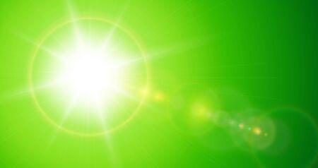 Illustration pour Sun with lens flare, vector nature green background. - image libre de droit
