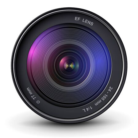 Illustration for Camera photo lens, 3D vector icon. - Royalty Free Image
