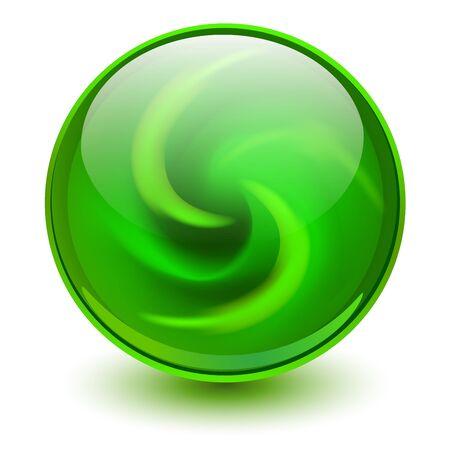 Photo pour Green glass sphere, 3D marble ball, vector illustration. - image libre de droit