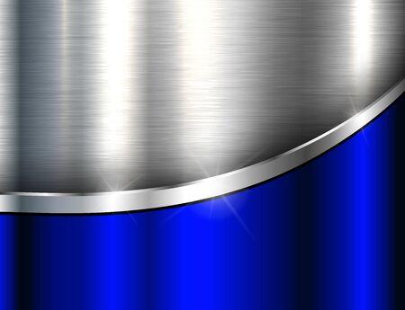 Illustration pour Metallic background silver blue, polished steel texture, vector design. - image libre de droit