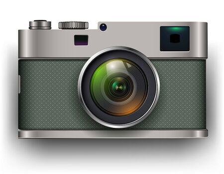 Illustration for Retro photo camera 3D icon, vector illustration - Royalty Free Image