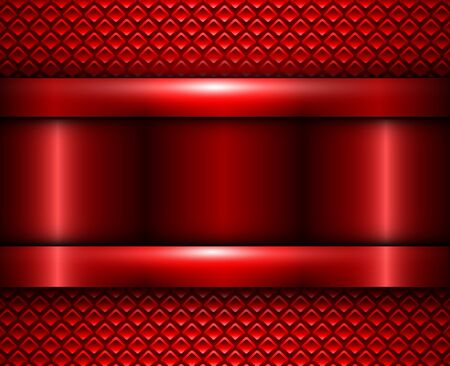 Illustration for Background red metallic, vector metal texture design. - Royalty Free Image