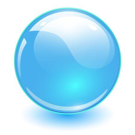 Illustration pour Glass sphere blue, vector shiny ball. - image libre de droit