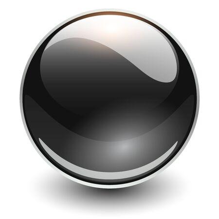 Illustration pour Glass sphere black, vector shiny ball.  - image libre de droit