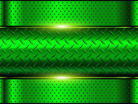 Illustration pour Background green metallic, 3d chrome vector design with diamond plate sheet metal texture. - image libre de droit
