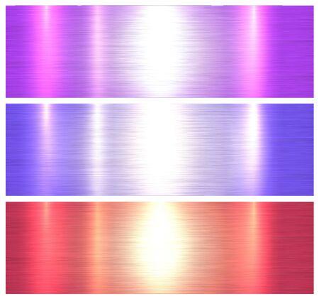 Illustration pour Metallic textures, colorful brushed metal backgrounds, vector illustration. - image libre de droit