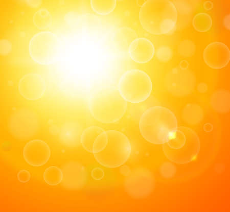 Illustration for Sunny orange background, sun with bokeh, hot summer vector illustration. - Royalty Free Image