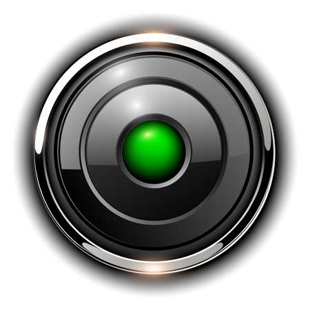 Illustration pour Glossy 3D button, silver chrome metallic with green inside, vector shiny icon. - image libre de droit