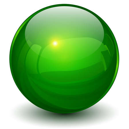 Illustration pour Glass sphere green, 3D ball icon shiny vector illustration. - image libre de droit