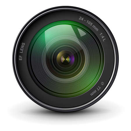 Illustration for Camera photo lens, front view, realistic 3D vector icon. - Royalty Free Image