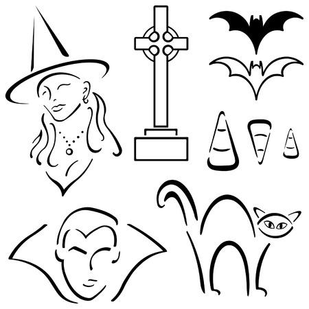 Halloween Design Set – Witch, Vampire, cat etc