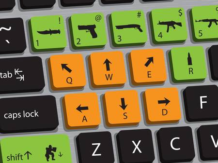 Concept of computer keyboard designed for playing shooting games