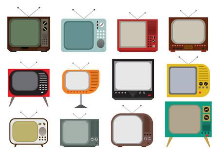 Vector illustration of the vintage TV set