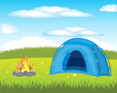 The Year rest in tent on meadow.Vector illustration