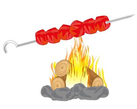 Shish kebab prepared on campfires on white background