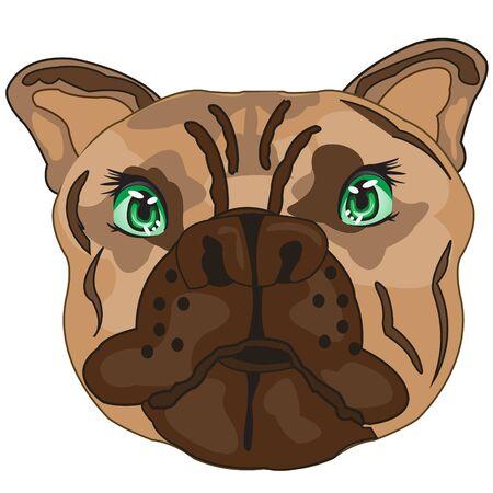 Illustration pour Vector illustration of the mug of the dog bulldog - image libre de droit