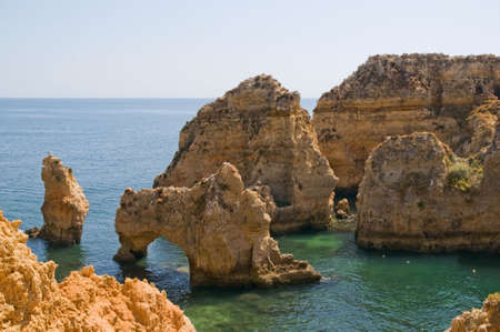 Portugal, Algarve, Lagos. Ponta da Piedade. The most visited and amazing rock formations in Portugal.