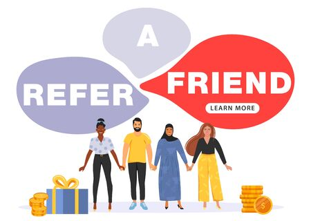 Illustration pour Referral marketing concept. Bubble speech with refer a friend word. People hold hands. Social media marketing for friends. Vector illustration. - image libre de droit
