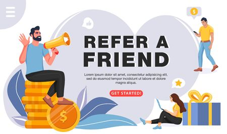 Ilustración de Refer a friend concept. Man with a megaphone invites his friends to referral program. People share info about referral program. Social communication, loyalty program, social media marketing for friends. Vector. - Imagen libre de derechos