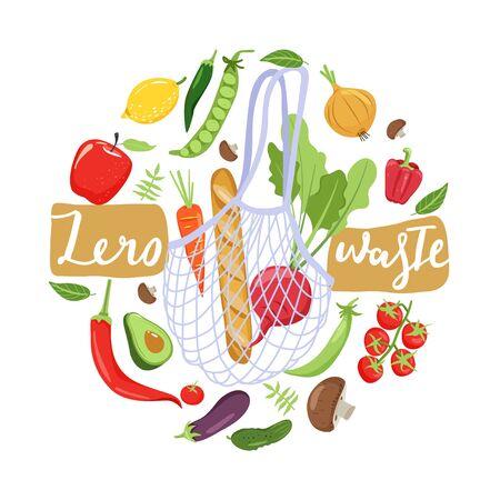 Illustration pour Zero waste concept. Eco bag with vegetables for eco friendly living. Circle shape composition. Vector illustration on white background. - image libre de droit